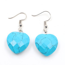 FYJS Unique Jewelry Silver Plated Blue Turquoises Stone Romantic Cute Heart Drop Earrings