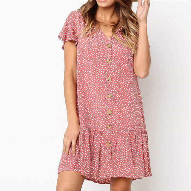 Bohemian Dress Women Boho Style Dot Print Summer Beach Dresses Ruffles Mini Party Dress Casual Short Sleeve V-Neck Loose Vestido