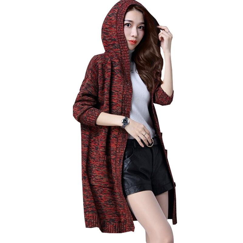 Chandail Capuchon Plus Manteau Rouge Zs138 red Gray Femmes D'âge 2018 Lâche Coréenne Poche Gris Style Taille Moyen Tricoté La À Cardigan Long Automne wqptqaC