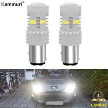 Нет ошибок 1157 BAY15D P21/5 Вт светодиодный DRL Вождения LED фонари дневного света Противотуманные лампы светильник для peugeot 408 308 3008 RCZ DRL Дневной ходовой огонь