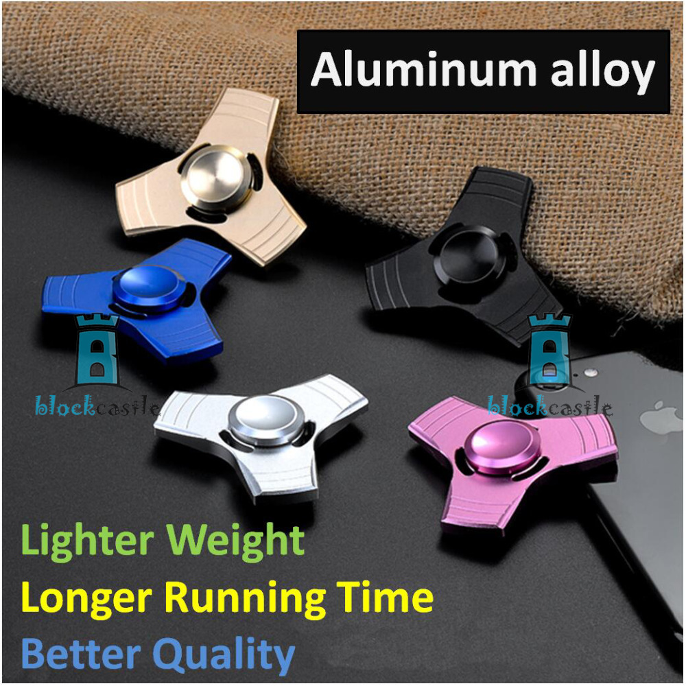 5 Colors EDC Aluminum Alloy Hand Spinner Fidget UFO Tri Adult Anxiety Stress Toy Gift Box Design