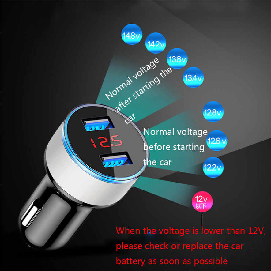 New 2.1A Dual USB Car Charger 1PC 2 Port LCD Display 12-24V Cigarette Socket Lighter Car Charger High Quality 0111#30
