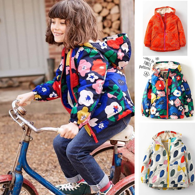 new fashion cartoon owl casual flowers girls winter coat wadded cotton-padded waterproof windproof outerwear children jackets