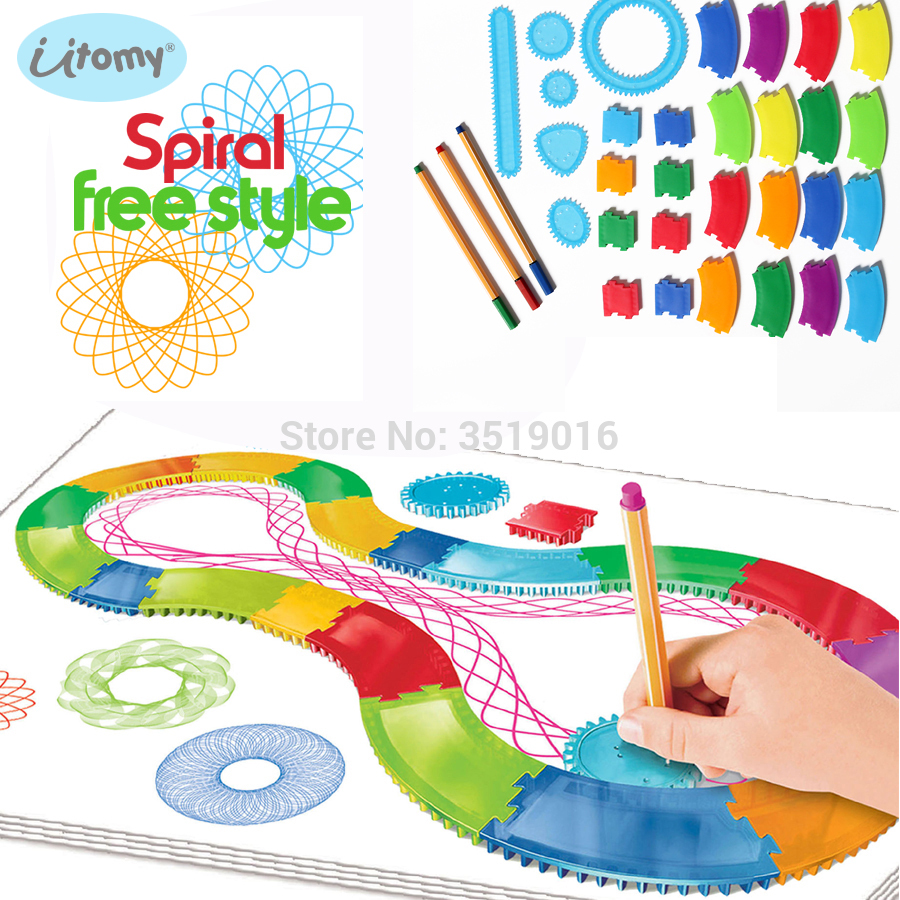 Spirograph Drawing Set 30PCS Accessories And 3pcs Design Pens Free Style Create Designs Patterns Art Paint Coloring Spiral Toys
