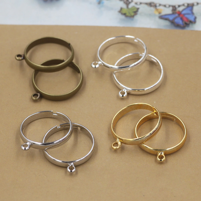 20pcs/lot Silver Plated Ring Settings Simple Style Adjustable Rings With Hole For DIY Fashion Rings Making Handmade