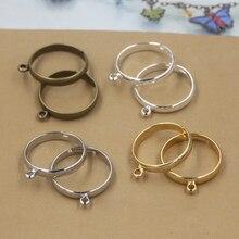 20 adet/grup gümüş kaplama yüzük ayarları basit stil ayarlanabilir yüzükler için delik ile DIY moda yüzük el yapımı