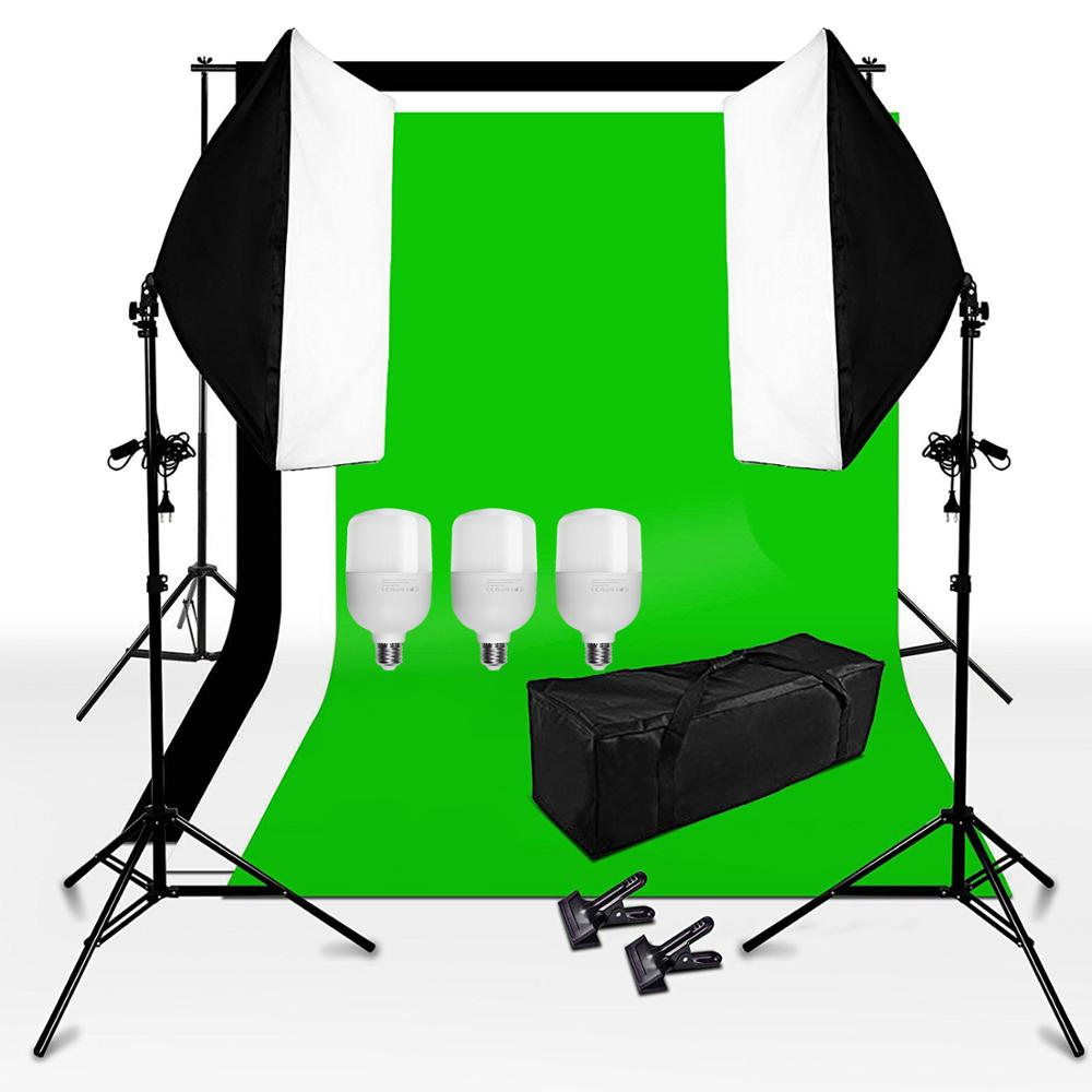 ZUOCHEN Photo Studio White Black Gray Green Screen Backdrop Light Stand Softbox Lighting Kit With 3PCS 25W LED Bulb