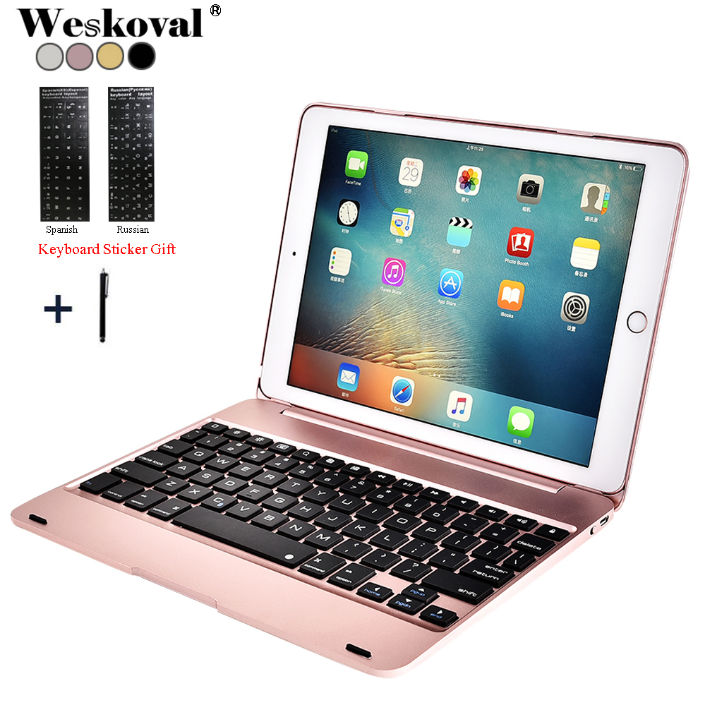 For iPad 9.7'' 2018 A1893 Wireless Bluetooth Keyboard Case For iPad 9.7 2017 A1822 Tablet Alloy Keyboard Cover For iPad Air 1 2