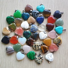 Wholesale 50pcs/lot 2020 Assorted heart natural stone charms pendants for jewelry making Good Quality 20mm free shipping