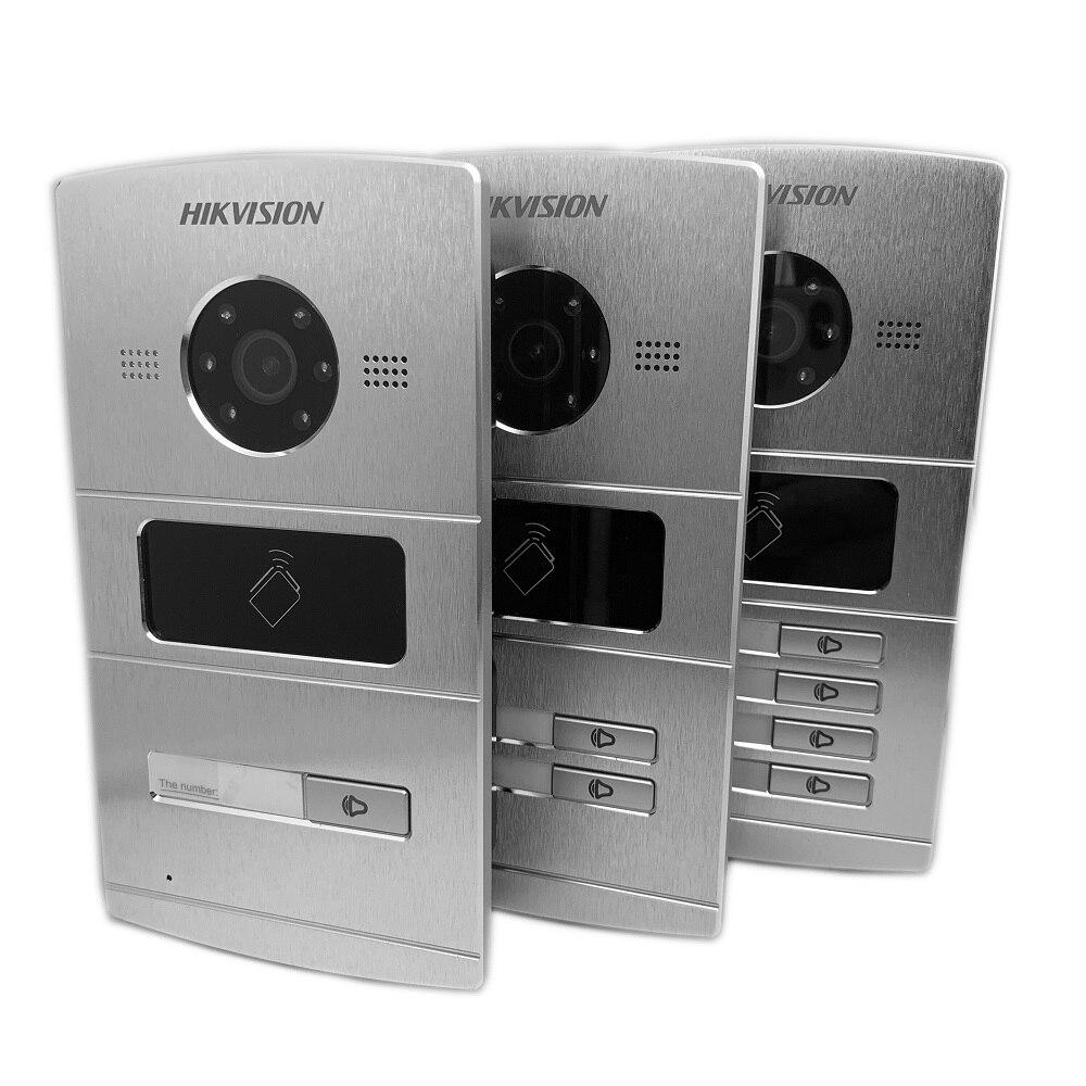 Hik Multi-idioma 1-4 botón IP timbre de la puerta teléfono Video intercomunicador Visual intercomunicador impermeable 13,56 MHz RFID tarjeta IP intercom