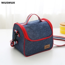 2017 New Fashion Portable Insulated Denim lunch Bag Thermal Food Picnic Bags for Women kids Men Cooler Lunch Box Bag Tote(China (Mainland))