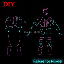 EL Wire Glittery Suit for American Talent Show Neon Led Bulb Fluorescent Clothing Light Up Led Tube Rope Colorful Dance Costume