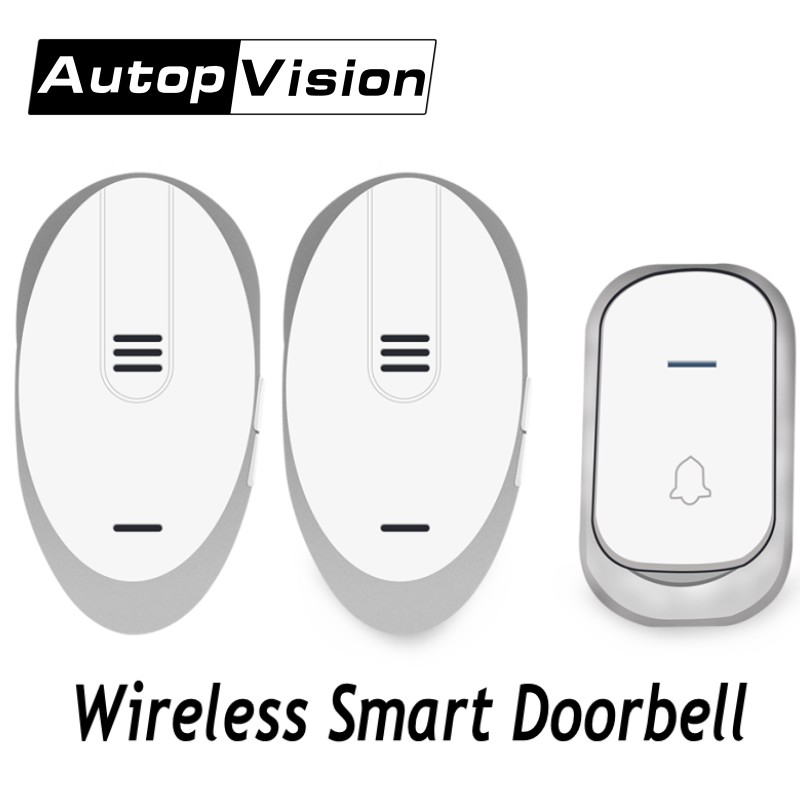 Waterproof Wireless Music Doorbell Plug-in 32 Chime 2 Receiver+1 Transmitter home Door Bell 3 Volumes Adjustable smart doorbells wireless home security door bell call button access control with 1pcs transmitter launcher 1pcs receiver waterproof f3310b