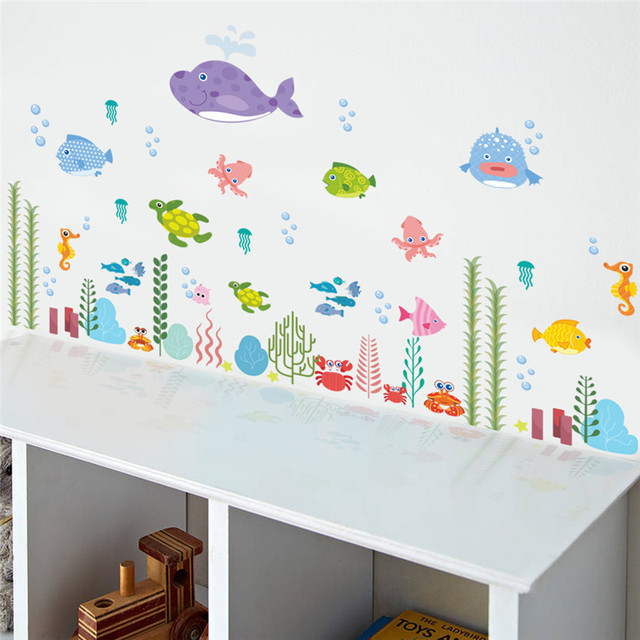 Underwater Colorful Fish Wall Stickers Sea Fish Cartoon Bathroom Nursery  Home Decor Decals Pvc Stickers Decals