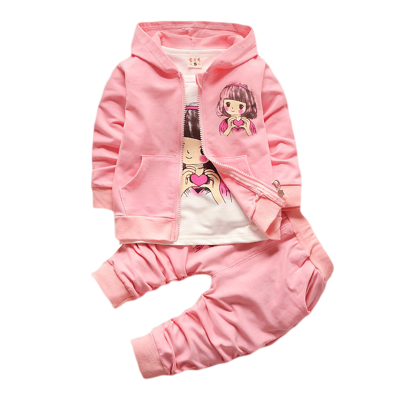 BOTEZAI new baby childrens clothing female spring girl and autumn sports cartoon three-piece