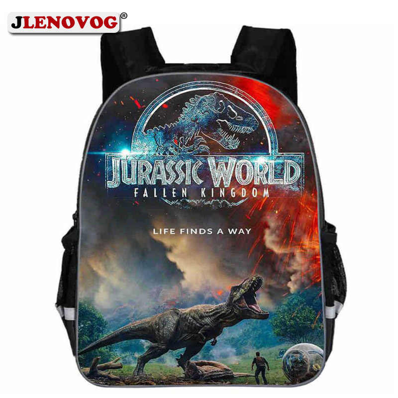 Kids Jurassic World School Bag Children Teenagers 13 16 18 inch Dinosaurs Schoolbag Teenagers New Backpack with Reflective Strap