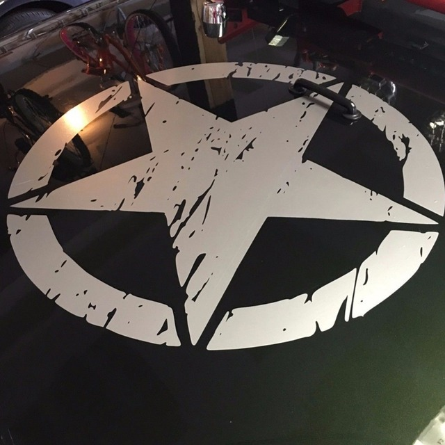 """New Army Star Distressed Decal Large 16"""" Approx Vinyl Military Hood Graphic Body 40CM Sticker Fits For Jeep Fashion Cool#274981"""