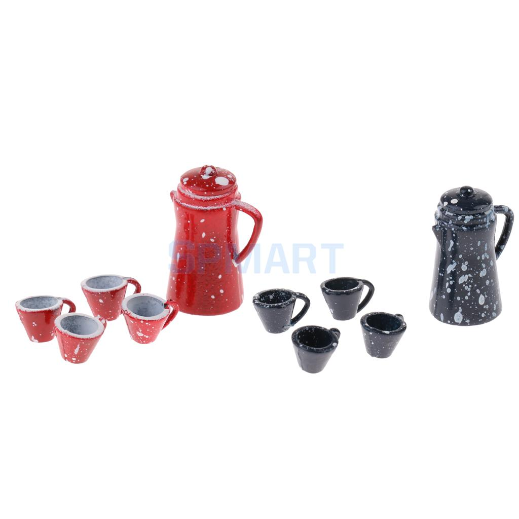 1/12 Scale Chinese Porcelain Coffee Tea Set Dollhouse Miniature Tableware Cookware Furniture Decoration Accessory