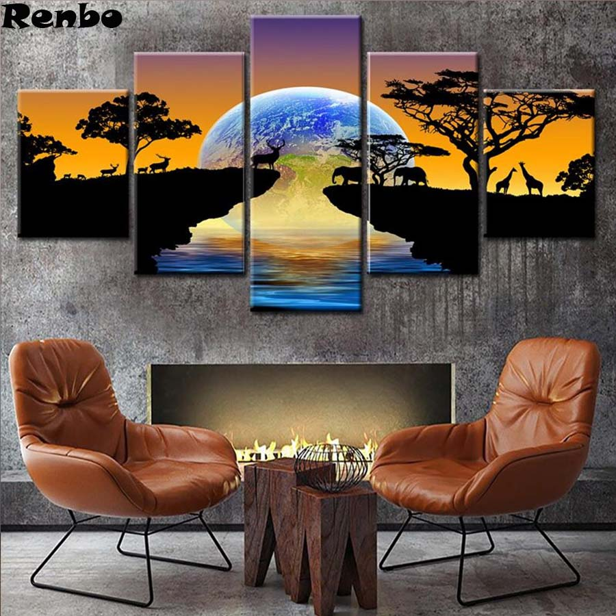 5 pcs Diamond Painting Africa Elephants DIY Diamond Embroidery Sunset landscape 5D Full Square Mosaic Pictures