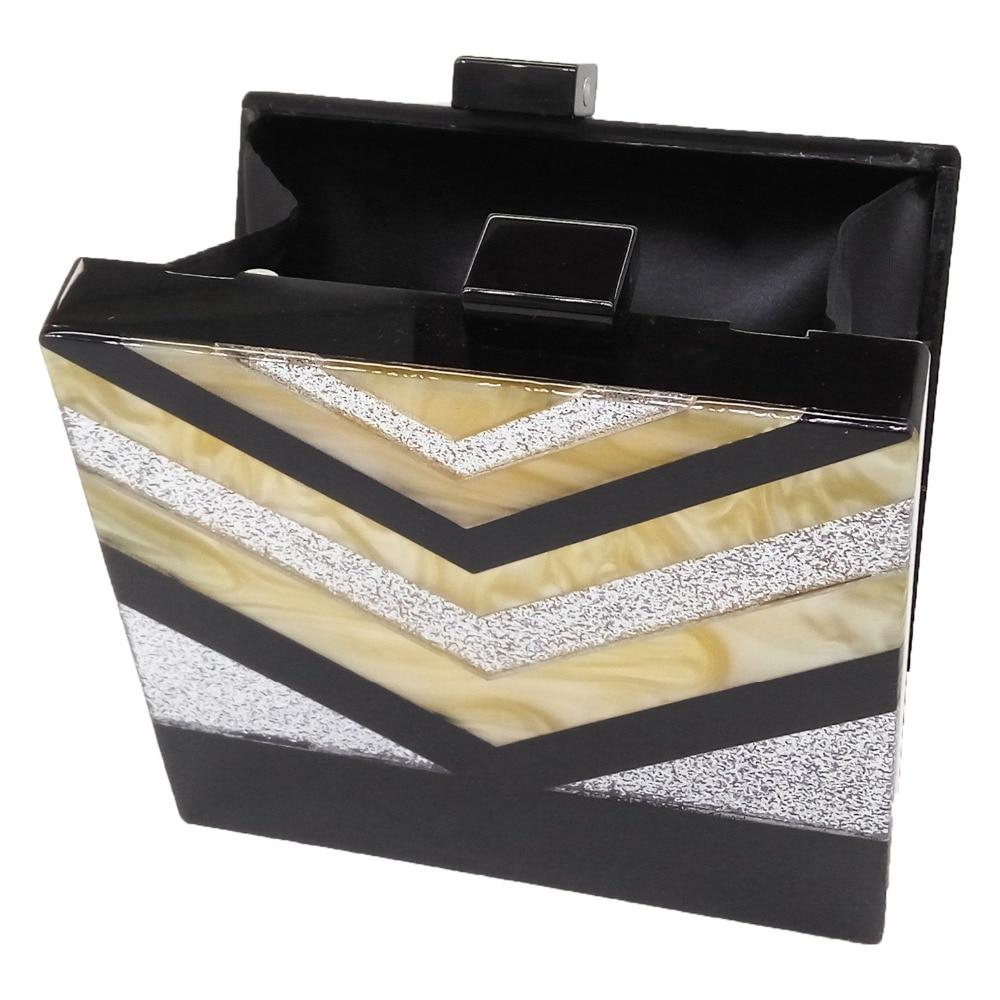 dd5b8d38df Women's Black\Gold\Silver V Striped Handbags Acrylic Box Evening Bag  Clutches Hard Case Wedding Prom Bridal Shoulder Clutch Bags-in Evening Bags  from ...