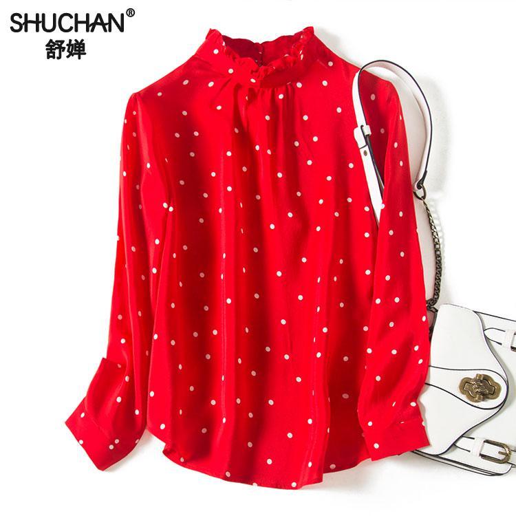 Shuchan nouveau 100% soie naturelle rouge femmes chemise Blouses 2019 femme Top femme à pois Ol à la mode femmes vêtements C1408