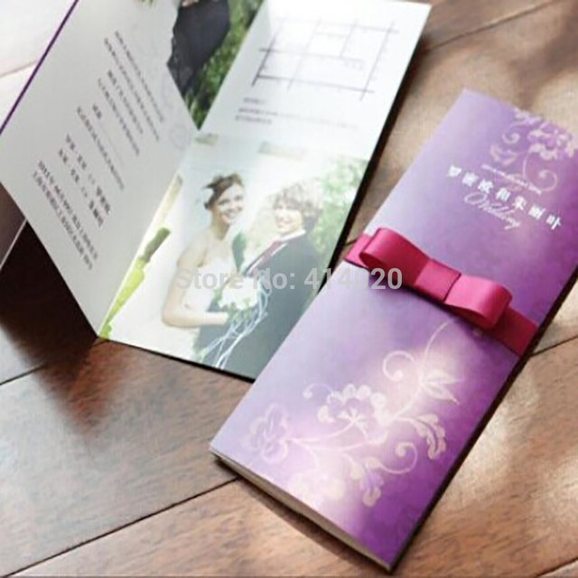 Us 185 0 100pcs Lot Customized Elegance Light Purple Lace Decor Wedding Invitations Cards Picture Printed Is Available In From
