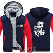 Новые зимние куртки причудливые пальто Джоджо приключения балахон с капюшоном толстые молнии мужчины кофты