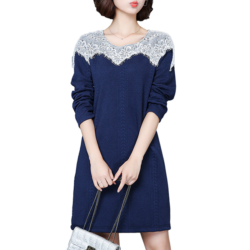 Plus Size L-5XL Blue Knitted Dress Women Long Sleeve O-Neck Floral Print Vintage Lace Dresses 2017 Large Size Winter Dresses freestyle revolution new red blue women s size large l junior ikat print shorts