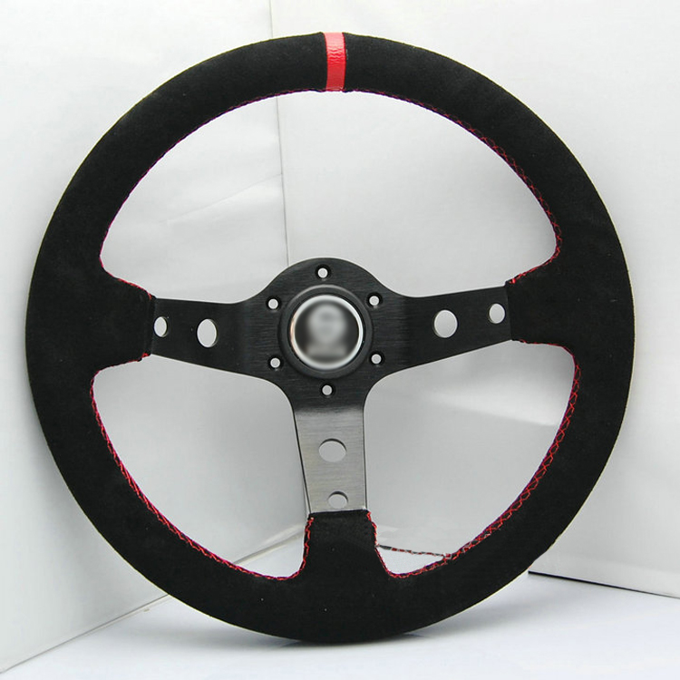 New Universal Sport 350mm Suede Leather Deep Dish Steering Wheel Red Strip