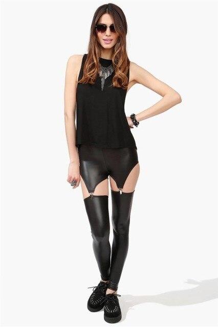 82db84e64b4c14 Faux Leather Leggings 6R8420 Free shipping latest girls sexy hot Leather  Clip Garter Leggings Fashion Leggings For Women