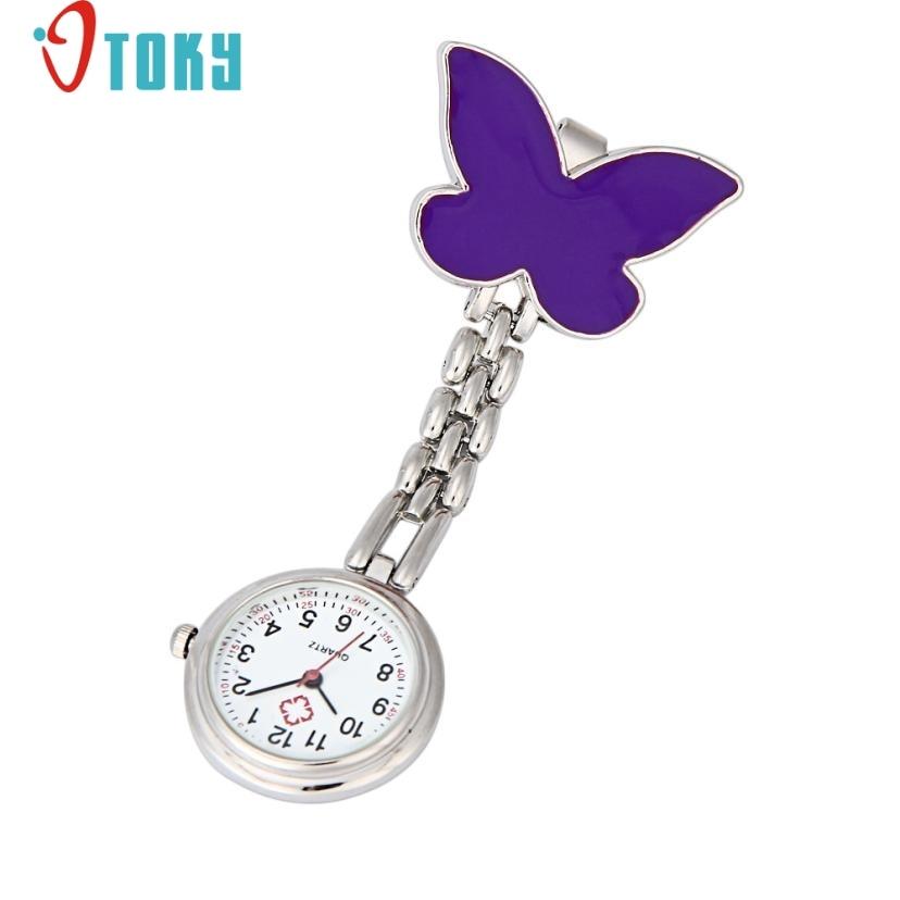 OTOKY Hot Unique Nurse Pocket Fob watch Clip-on Fob Brooch Pendant Hanging Butterfly Watch Pocket Watch Drop ship F25