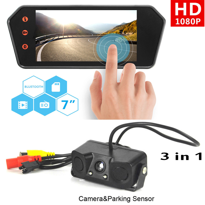 Newest 7'' HD 1080P Touch Screen LCD Bluetooth Mirror Monitor & 3 in 1 Car Parking sensors Rearview Camera Reverse