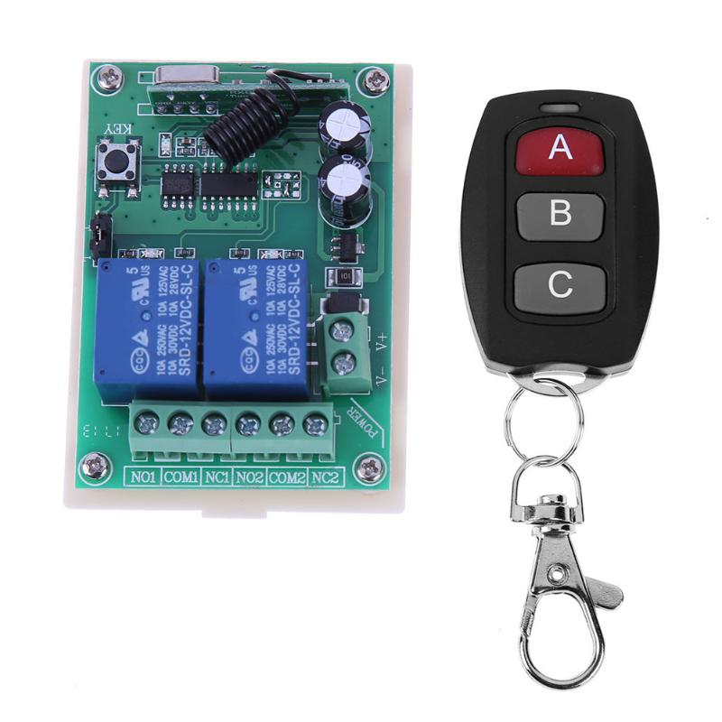 Smart Home Remote Control Switch 2 CH Relay Contact Wireless Switch DC 12V 10A Learning Independently RF Receiver 433MHz 12v 2ch remote control switch 2transmitter 1receiver 1ch 1button independently 315 433mzh with relay indicator learning code