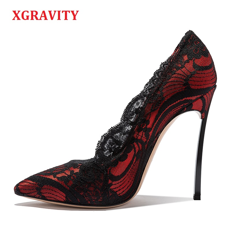 XGRAVITY Autumn Women High Heel Pumps Sexy Woman Lace Super High Heeled Shoes Pointed Toe Lady Party Shoes Girls Footwear C294 taoffen size 32 48 women retro shoes women s high heel pumps sexy t strap summer shoes party wedding lady heeled shoes footwear