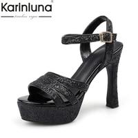 Karinluna גודל גדול 32-43 עקבים גבוהים פלטפורמת סנדלי אישה נעלי נשים בלינג Foowear כלה לחתונה צד עליון עבור קיץ