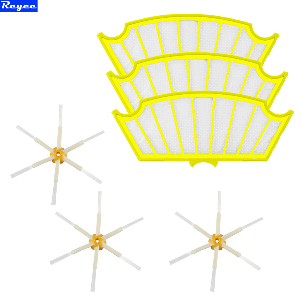 Total 6pcs 3 pack Roomba 500 Filters +  6 Arms Sidebrush Set for iRobot Roomba 500 Series 530 550 560 570 Free Shipping canon ws 1410t