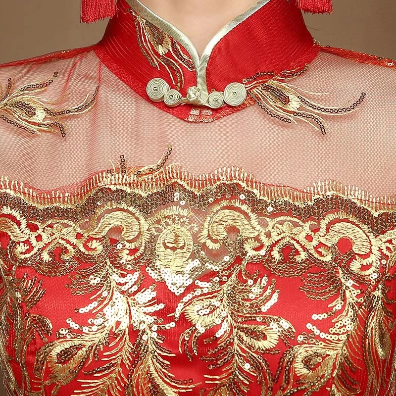 Style chinois fil d'or tulle dentelle tissu broderie phoenix - Vêtements nationaux - Photo 3