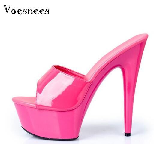 2018 High Quality Shoes Woman High-heeled 15cm Slides,Transparent Bottom 11 Color,Thin Heels ,Platforms Model Catwalk Shoes стоимость