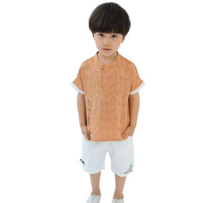 Summer Boy Clothes Set Childrens Hanfu T-shirt Shorts Chinese Traditional Chinese Clothes Boy Clothes SetSummer Boy Clothes Set Childrens Hanfu T-shirt Shorts Chinese Traditional Chinese Clothes Boy Clothes Set