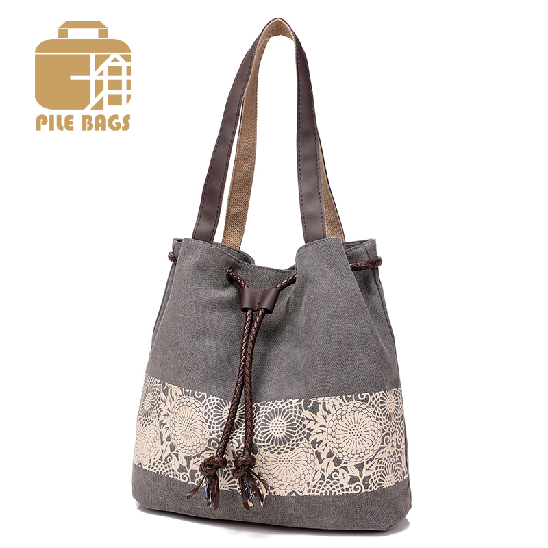 Bucket Bag Floral Handbag Tote Beach Handbags Female Canvas Shoulder Bag Ladies Tote Bags Handbags Women Famous Brand 2017