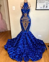 African Royal Blue Prom Dresses Mermaid 2019 Sexy Halter Backless Rose Train Elegant Women Prom Party Gowns For Black Girls