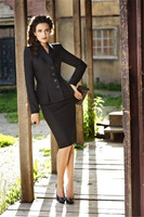 Womens Black Work Wear Suit Formal Ruffle Blazer 2 Set Office Business Coat Skirt Suit