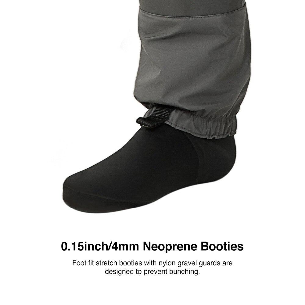 Piscifun 3 couches Polyester respirant imperméable bas pied mouche pêche poitrine cuissardes pantalon pour hommes et femmes avec coque de téléphone - 5