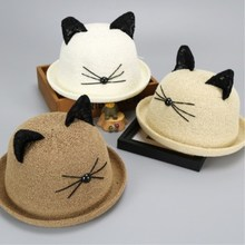 Fashion Summer Cat Ears Straw Hat Girl Child Sun Cartoon Beach