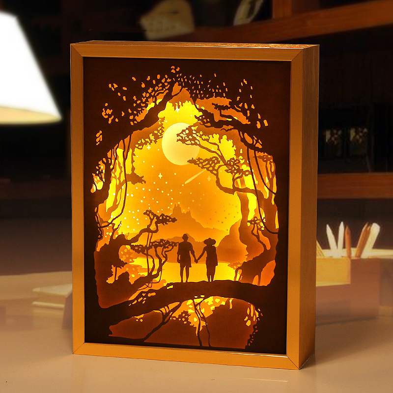 2018 New Romantic 3d Paper Carved Night Light Photo Frame
