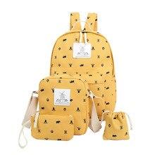 Печать Школьные сумки для подростков Обувь для девочек модные женские туфли рюкзак милый студент Сумки дамы shoudler Сумки 4 шт./компл. XM03