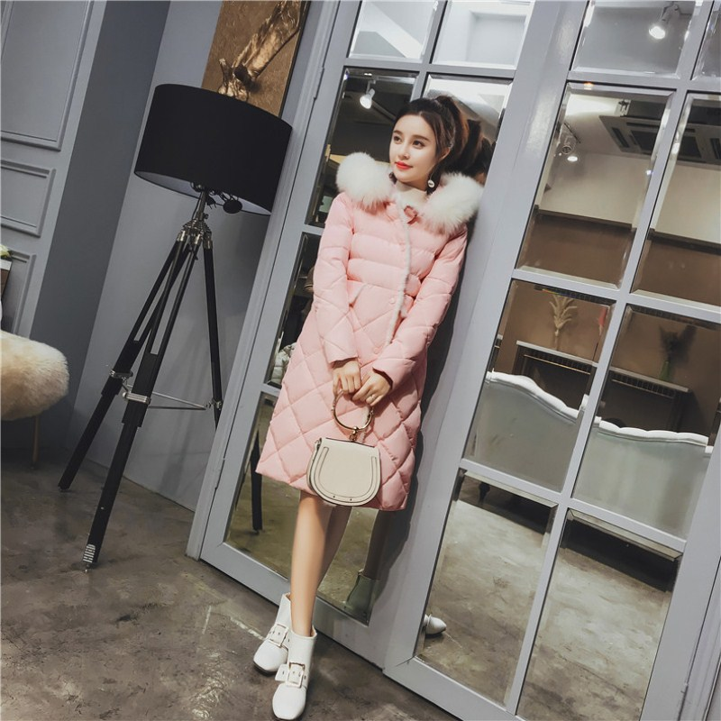 Big fur winter coat thickened parka women slim long winter coat down cotton ladies down parka down jacket women 2018 pink coat
