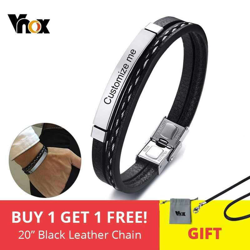 Vnox Multi Layer Leather Bracelets for Men Women Customizable Engraving Stainless Steel Bar Bangles Casual Personalized Pulseira