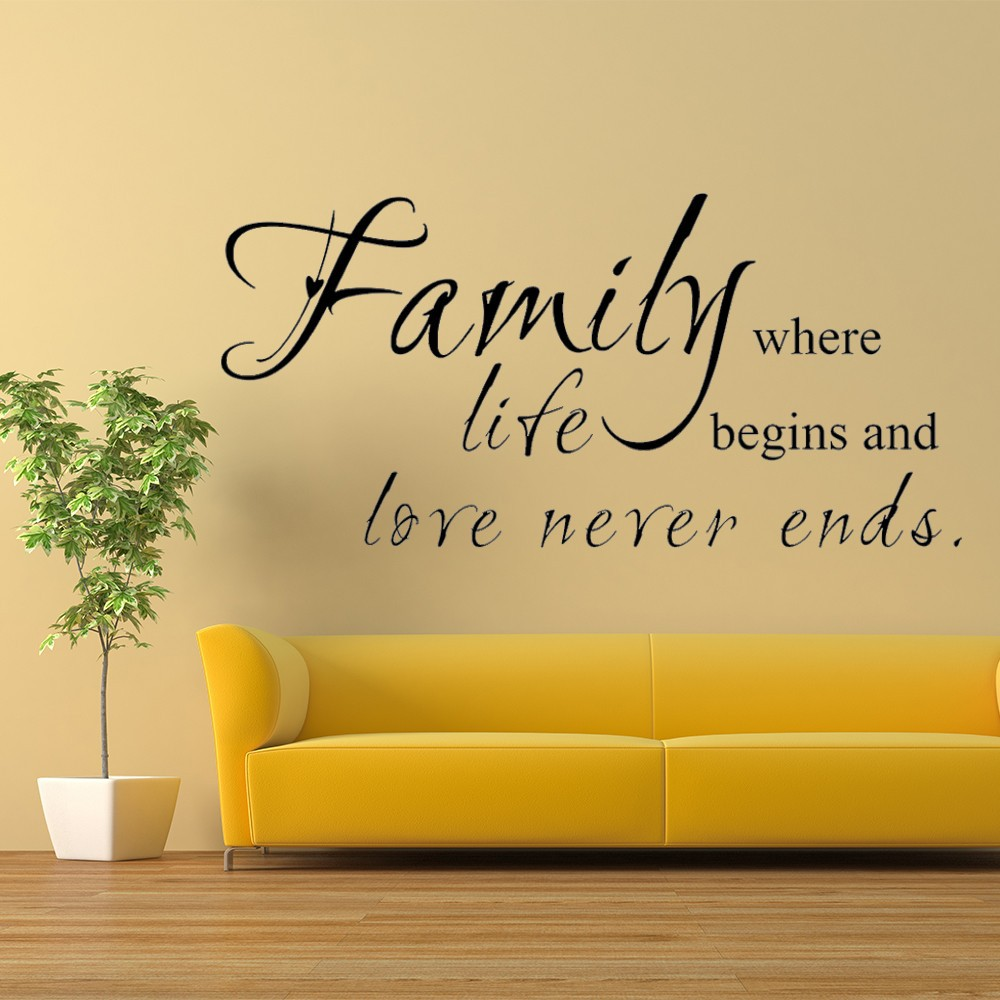 Family where life begins love never ends family wall decal for Living room decor quotes