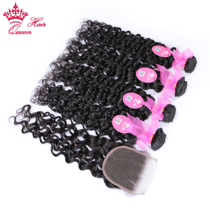 Queen Hair Brazilian Water Wave Hair With Closure Free Part 100% Remy Human Hair 4 Bundles With Lace Closure 5pcs/lot